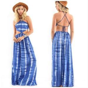 Elan Cut Out Tie Dye Dress